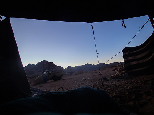 Day breaking, viewed from a camp in desert   by Masa Sakano