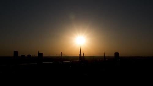 riga latvia lettland city cityscape citycenter baltic balticnation eu europe europa oldtown hansestadt aerialview aerial sunset silhouette