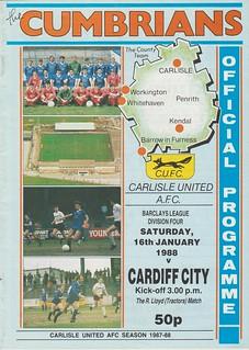 Carlisle United V Cardiff City 16-1-88 | by cumbriangroundhopper