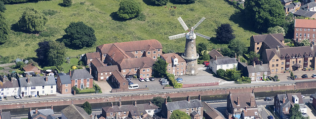 The Maud Foster windmill in Boston - Lincolnshire aerial