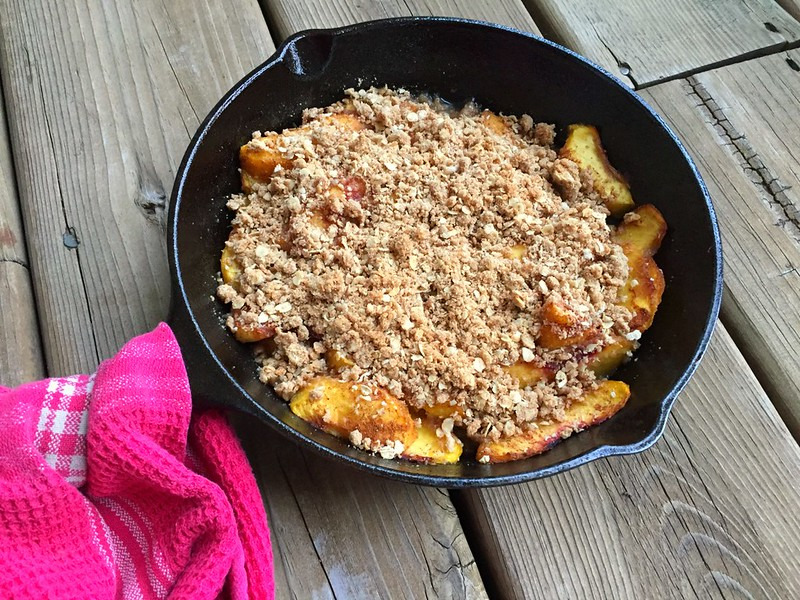 peach crisp fresh from the oven