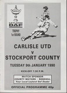 Carlisle United V Stockport County 9-1-90 | by cumbriangroundhopper