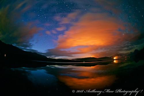 anthonymaw fisheye stars fire forestfire burn glow orange lake reflection