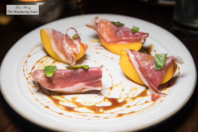 Presunto, peaches, Fermin Iberico ham, basil, burnt vinegar (Madeira)