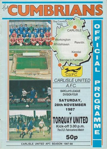 Carlisle United V Torquay United 28-11-87   by cumbriangroundhopper