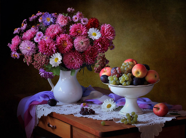 Autumn still life with flowers and fruits