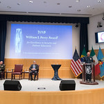 Ju, 09/20/2018 - 14:19 - On Thursday, September 20, 2018, the William J. Perry Center for Hemispheric Defense Studies honored General Salvador Cienfuegos Zepeda, Secretary of National Defense of Mexico, and Escola Superior de Guerra (ESG), National War College of Brazil, with the 2018 William J. Perry Award for Excellence in Security and Defense Education. Named after the Center's founder, former U.S. Secretary of Defense Dr. William J. Perry, the Perry Award is presented annually to individuals who and institutions that have made significant contributions in the fields of security and defense education. From the many nominations received, awardees are selected for achievements in promoting education, research, and knowledge-sharing in defense and security issues in the Western Hemisphere. Awardees' contributions to their respective fields further democratic security and defense in the Americas and, in so doing, embody the highest ideals of the Center and the values embodied by the Perry Award.
