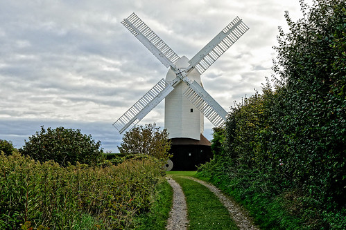 windmill mill white sails hedge tree road track path sky cloud grass ghe