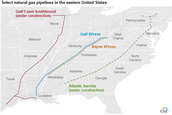 Selected natural gas pipelines in the eastern United State