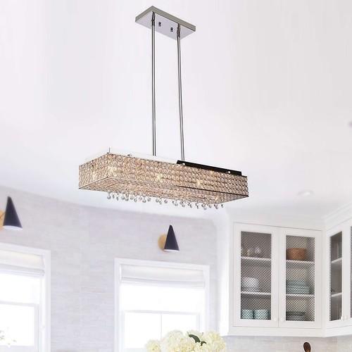 Modern rectangular crystal chandelier island pendant ceiling light 8 light | by Lighting Must