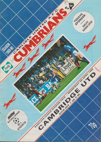 Carlisle United V Cambridge United 4-4-90 | by cumbriangroundhopper