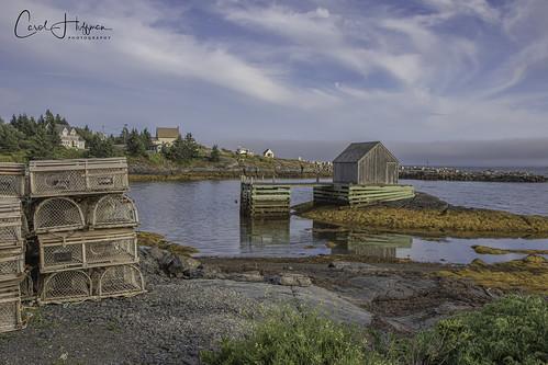 novascotia lunenburg bluerocks village fishingvillage water lobstertraps reflections landscape cans2s