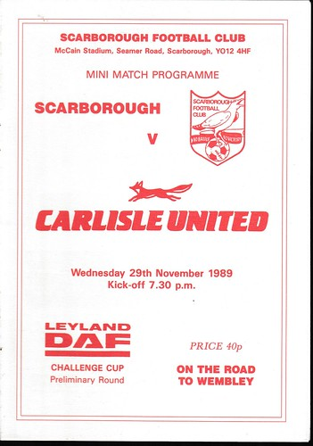 Scarborough V Carlisle United 29-11-89 | by cumbriangroundhopper
