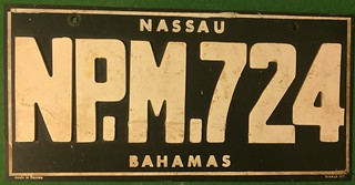 NASSAU BAHAMAS 1960's ---RUBBER LICENSE PLATE   by woody1778a