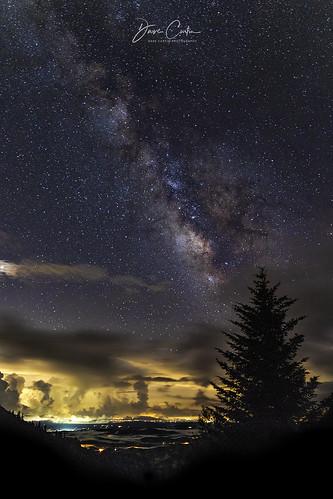 night stars evening mountain overlook blue ridge parkway north carolina glow