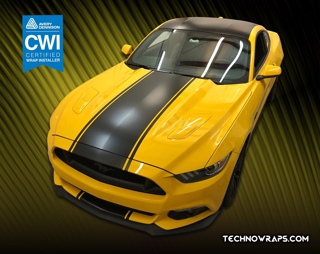 Satin black vinyl car stripe on ford mustang gt by technowraps