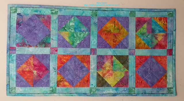 Batik table runner Fire and Ice