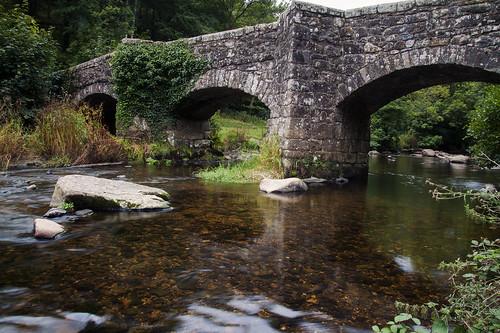 finglebridge riverteign dartmoor nationalpark devon uk england historic granite archbridge architecture 17thcentury ancient old water idyllic woodland scenic overgrown