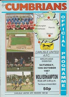 Carlisle United V Wolverhampton Wanderers 10-10-87 | by cumbriangroundhopper