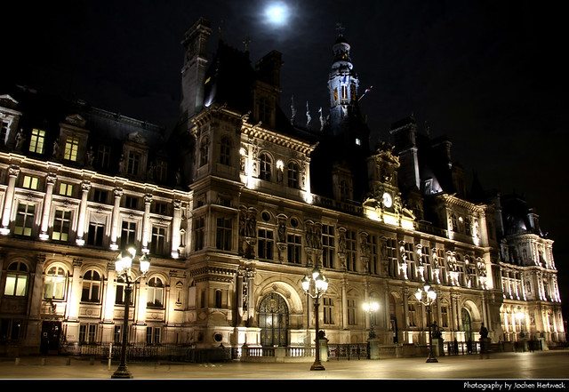 Hôtel de Ville at Night, Paris, France