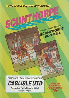 Scunthorpe United V Carlisle United 24-3-90 | by cumbriangroundhopper