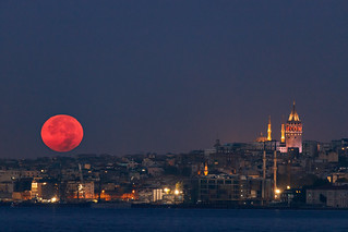 Red Duel of Moon and Galata Tower | by aksoykaan1