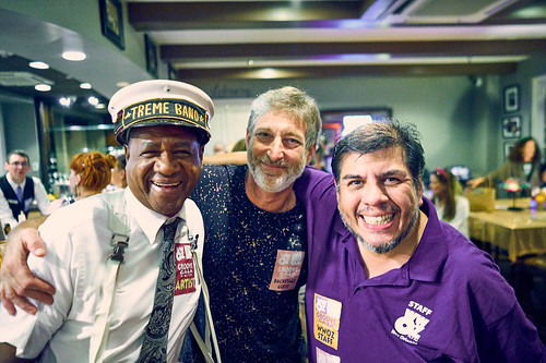 Treme Brass Band, Scott Aiges, Jorge Fuentes at the WWOZ Groove Gala on Sep. 6, 2018. Photo by Eli Mergel.