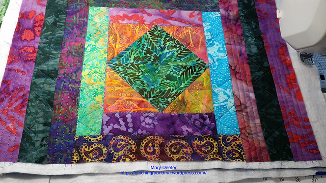 Walking foot quilting Batik placemats