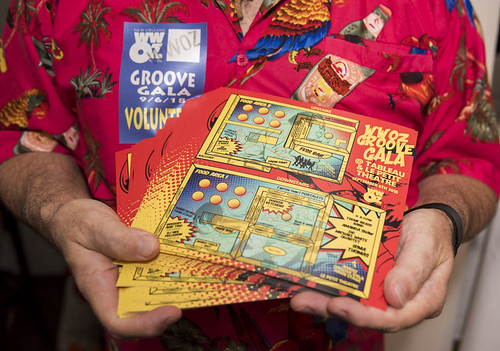 Festival map designed by Roan Smith at the WWOZ Groove Gala on September 6, 2018. Photo by Ryan Hodgson-Rigsbee www.rhrPhoto.com