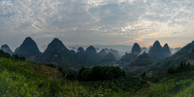 Yangshuo Sunrise Landscape Chinese Mountains