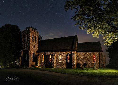 cragsmoor newyork catskill mountain stone church night dark light painting summer
