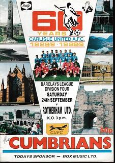 Carlisle United V Rotherham United 24-9-88 | by cumbriangroundhopper