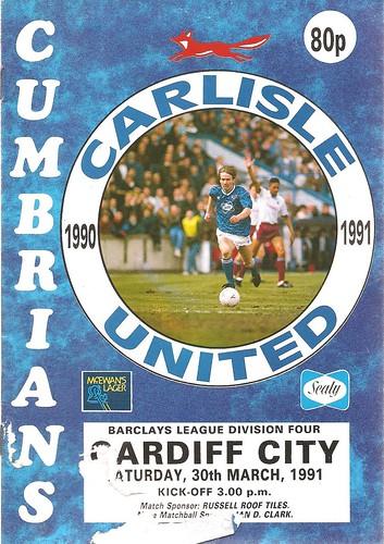 Carlisle United V Cardiff 30-3-1991   by cumbriangroundhopper