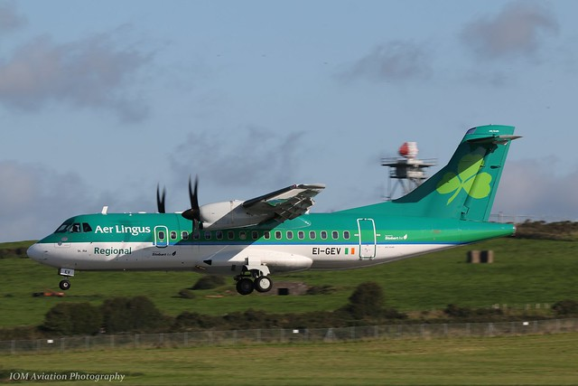 Aer Lingus Regional ATR42-600 EI-GEV at Isle of Man EGNS 05/09/18