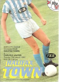 Halifax Town V Carlisle United 19-3-91 | by cumbriangroundhopper