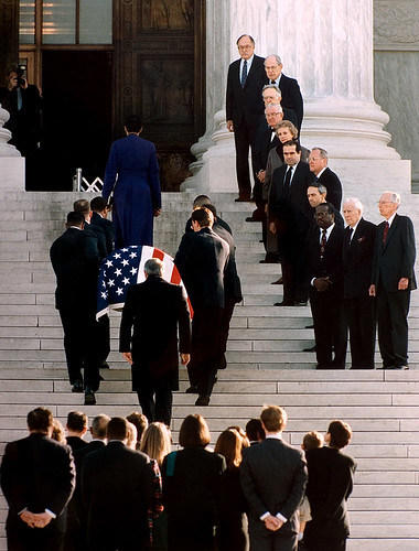 Former Supreme Court Justice Thurgood Marshall's casket is carried up the steps of the U.S. Supreme Court