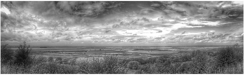 monochrome mono bw alkborough flats floodland fields wildlife trent humber ouse rivers confluence lincolnshire northlincolnshire northlincs nlincs trees panoramic pano horizon sky skywatching clouds cloudscape
