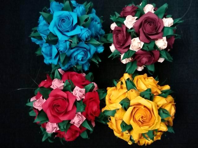 Origami Pentagon Roses (Naomiki Sato) that I folded for the ... | 480x640