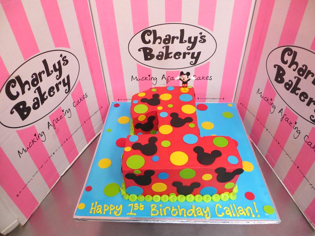 Astonishing Mickey Mouse Themed Number 1 Shaped Birthday Cake Charlys Funny Birthday Cards Online Unhofree Goldxyz