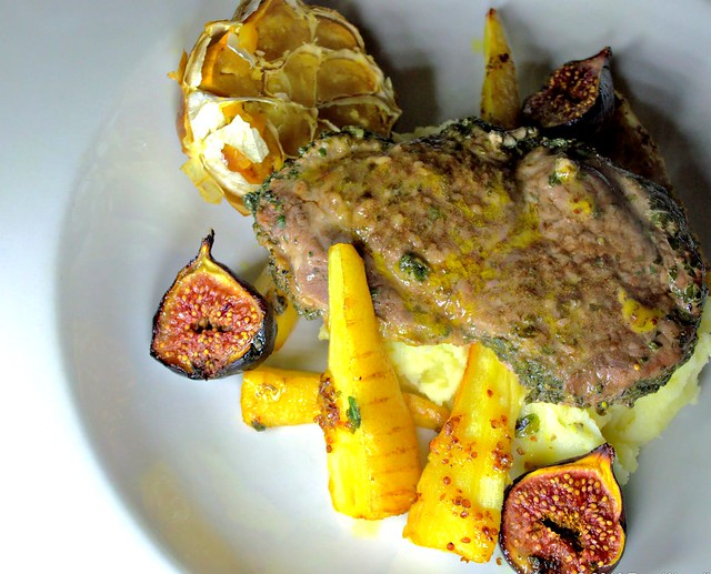 Herb Crusted Lamb with Parsnip and Figs