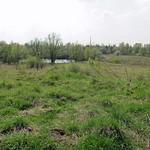 Vom Aussichtspunkt aus sieht man im Südwesten des NSG Am Ginsterpfad ein kleines Gewässer