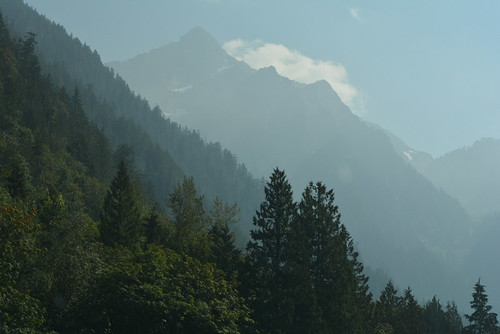 SMOKE IN THE VALLEY OF THE NORTH CASCADE MOUNTAINS.  THERE ARE OVER 500 FOREST FIRES IN OUR PROVINCE.   (Mount Cheam)