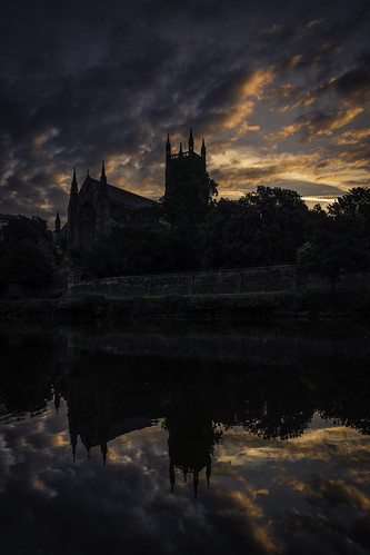 worcestershire worcester cathedral reflections sky sunrise river water