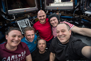 The entire six-member Expedition 56 crew gathers in the Cupola | by NASA Johnson