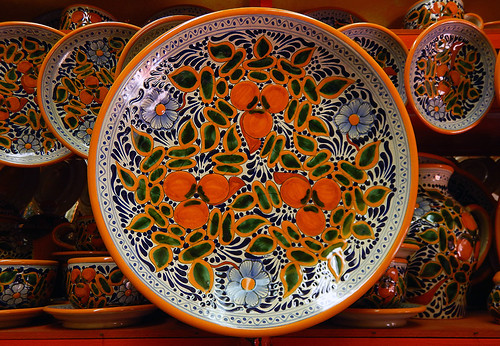 A Talavera plate, the traditional ceramic painting in Puebla, a UNESCO Heritage site in Mexico