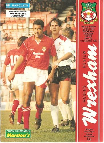 Wrexham V Carlisle United 1-12-90   by cumbriangroundhopper