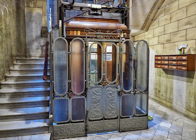 Our hotel elevator in Barcelona - about as much atmosphere as you can get (the room is rather more modern!)