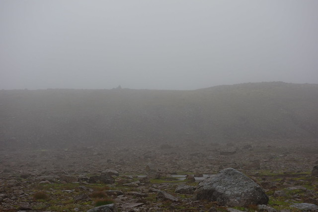 Heading up into the fog towards the pass Kjaransvíkurskarð.