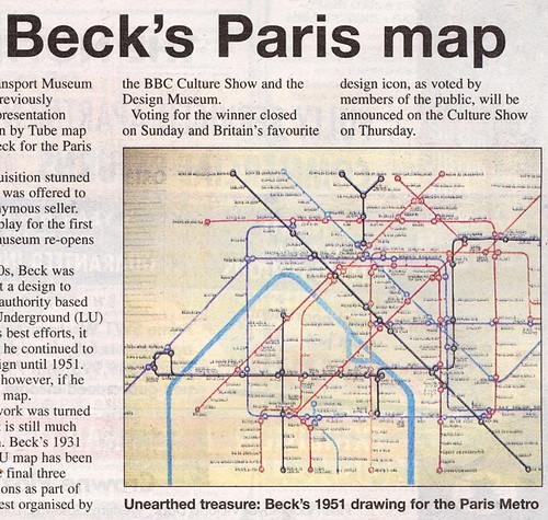Harry Beck\'s Paris Map in Metro newspaper | From my London U… | Flickr