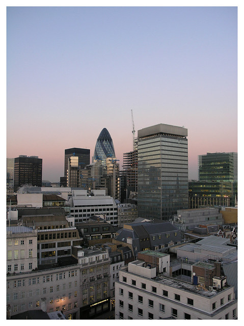 Sunset in the London city centre